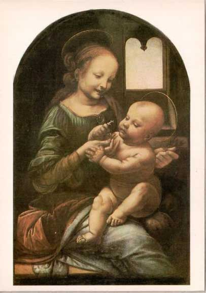 Открытка «Леонардо да Винчи. Мадонна Бенуа» Postal card «Madonna Benois by Leonardo da Vinci»